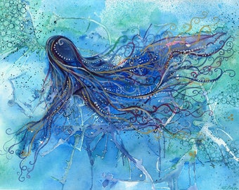 Sea Goddess - Original abstract watercolour painting