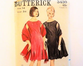 1960s Dress pattern, fitted sleeveless dress, front pleat detail, shawl, uncut vintage sewing pattern Butterick 3430 misses size 14, bust 34