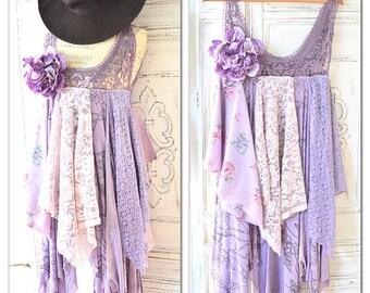 Purple gypsy tunic dress, boho dress, country floral crochet tunic romantic clothing, french market shabby cottage chic, True rebel clothing
