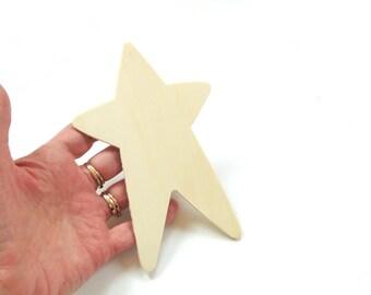 Wood star cut out, craft supply, destash, holiday star, kids craft