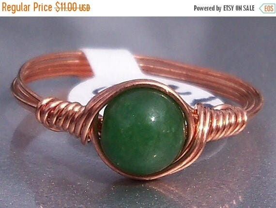 25% Off Sale Green Jade Copper Wire Wrapped Ring Custom Sized