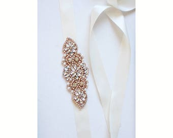 Crystal and pearl Bridal Sash Luxury rhinestone sash in silver, gold or rose gold  - SS14