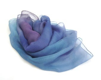 Silk scarf, hand painted scarf, ombre scarf, blue violet scarf, long scarf, chiffon scarf, mousseline scarf, luxury scarf, gift for women