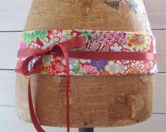 Pink Japanese sakura and asanoha fabric reversible obi belt