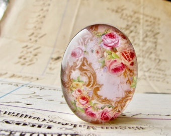 Pink roses with Victorian flourishes, 25x18mm glass oval cabochon, handmade in this shop, Fabulous Florals, flowers, romantic, feminine