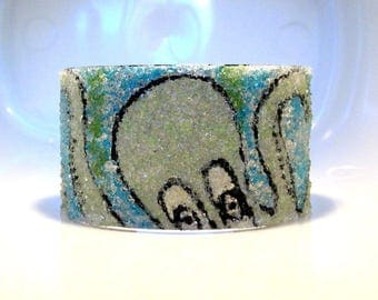 Octopus Bracelet, Painted Stained Glass, Wide Silver Cuff, Underwater Art, Tentacle Jewelry, Blue Green Bangle, Sea Creature Gift