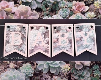 Hello Baby Banner - Pink Letters on Succulent Plants Design