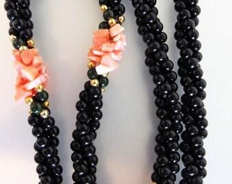 ON SALE Beautiful Vintage Monet Ciani Black Onyx & Coral Necklace