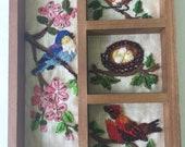 Vintage Crewel Shadow Box with Birds