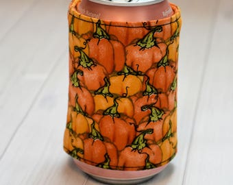 Pumpkin Can/Bottle Cozy/ Gift for Geeks/ Nerds/ Gift for Her/ Gift for Him/ Gift for Kids/ Birthday Gift/ Halloween/ Beer cozy
