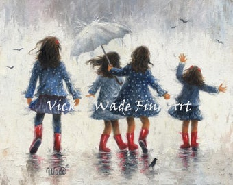 Four Sisters Rain Painting ORIGINAL art on canvas, four girls in the rain, four sisters in the rain wall art, Vickie Wade art