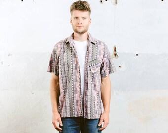 Summer Outdoors Shirt . Vintage 90s Aztec Print Shirt Mens SOUTHWESTERN Pink Shirt Button Down Cotton Shirt . size Medium