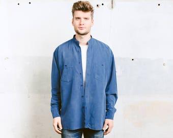 Blue Silk Collarless Shirt . Men Vintage Shirt Dress Shirt Band Colar Shirt Peasant Farmer Shirt Minimalist 80s Shirt . size Extra Large XL