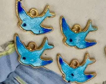 4 Guilloche charms, Blue Bird Charms, Vintage Bird Charms, Enamel Birds,Bluebirds, Enamel Sarah Coventry charm, Gold plated Findings #1498B
