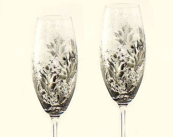 Bride and Groom Toasting Flutes - Hand-Painted CRYSTAL - Silver and Black Roses Set of 2 - Personalized Wedding Couple Gifts