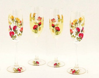 Hand-Painted Champagne Glasses, Set of 4 - Colorful Roses of Red  Orange Peach Yellow - Fall Wedding Anniversary Sparkling Wine Glasses