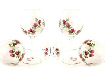 Hand Painted Red Rose CRYSTAL Wine Glasses - Classic Deep Red Rose Buds, Spring Green Leaves - Set of 4 - Personalized Birthday Gifts