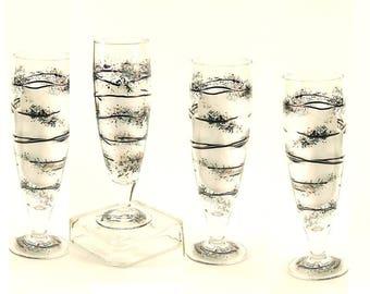 Men's Beer Glass Set Beer Glasses for Men Groomsmens Gifts Funky Beer Glasses 4 Painted Beer Glasses Minimalist Design Ready to Ship Gifts