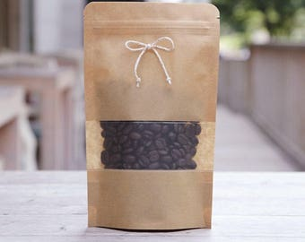 10 kraft paper zipper bag with window (about coffee bean 60 g)  small size