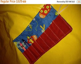 Christmas IN JULY SALE Crayon roll Beetle Boy BugsMore crayon rolls in my shop