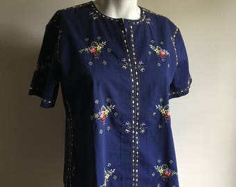 Vintage Chinese Embroidered Blue Navy Blouse