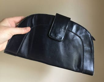 1940s Navy Blue Leather Clutch Bag