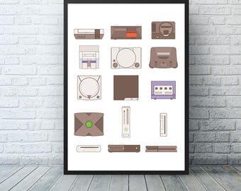 Video games, Nintendo Poster, Playstation Poster, Xbox Poster, Nintendo print, Video game gift, Gamer Gift, Gamer poster, video game console