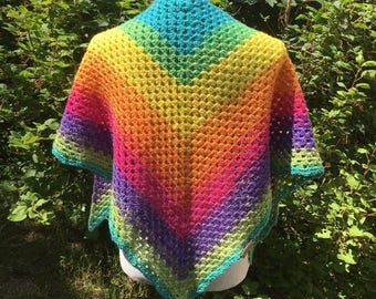 Rainbow Crochet Festival Shawl