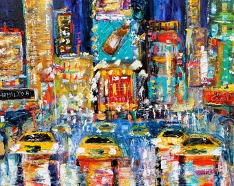 Times Square New York Night painting Original oil landscape palette knife impressionism on canvas 20x20 fine art by Karen Tarlton