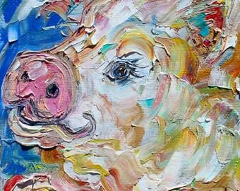 Pig portrait painting original oil 6x6 palette knife impressionism on canvas fine art by Karen Tarlton