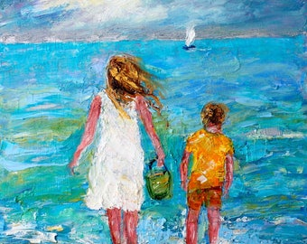 Beach Memory Watching Boats painting original oil 12x12 abstract palette knife impressionism on canvas fine art by Karen Tarlton