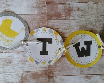 Twin Baby Shower Banner-Twice Blessed-Gender Neutral-Baby Shower-Baby Shower Banner-Instant Download