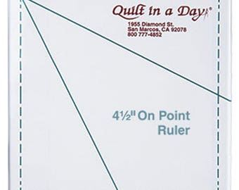 """On Point Ruler 4.5"""" Inch - Quilt in A Day - Quilting Ruler Tool- Kite Template - Eleanor Burns"""