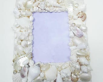 seashell frame picture frame pearlized shells white wedding frame - Wedding Picture Frames
