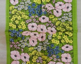 Vintage Unused Ulster Pure Linen Tea Towel Spring Poppy Flower