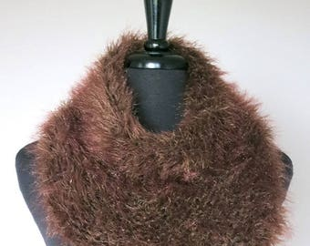 Outlander Inspired Faux Fur Knitted Capelet Brown Color Claire's Cowl Infinity Scarf