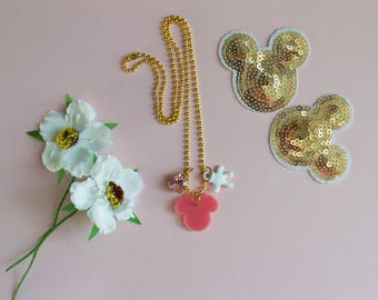 Pink minnie mouse necklace with mouse hand and pink crystal charm