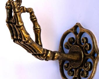 Bronze Plated Skeleton Hand Wall Hook Coat Rack Curtain  Rod Holder Jewelry Rack Made in NYC