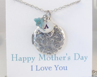 March Aquamarine Flower Mothers Day Locket,March,Antique Locket,Mothers Day,Mom,MotherSilver Locket,Aquamarine,Rhinestone,Vintage,Blue Stone