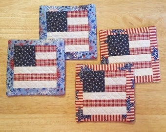 4th of July Flag Mug Mats ~ USA ~ Americana ~ Patriotic ~ Independence Day ~ Primitive Home Decor ~ Kitchen Decor ~ Quilted ~ FAAP  ~