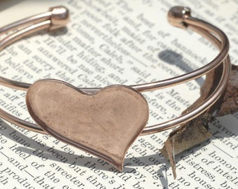 Solid Copper Bracelet Finding with Bezel Cup Heart  - Resin, Stones, and other Art Work!