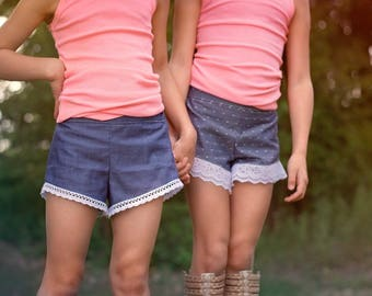 Beaufort Shorts PDF Sewing Pattern, Including sizes 12 months-14 years, Girls Shorts Pattern