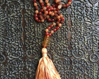 Dharmic Vitality ~ Mala ~ Carnelian ~ Peach Aventurine ~ Honey Jade ~ India ~ Rudraksha - Blown Glass ~ Tassel: recycled silk sari