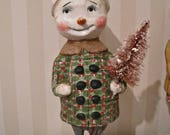RESERVED LISTING Snowman paper mache  folk art OOAK art doll
