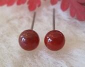 Niobium Earrings for Sensitive Ears Earrings / Sensitive Earrings - Carnelian Gemstone - Carnelian Studs