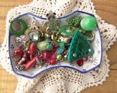 Red and Green Craft Lot, Jewelry Upcycle, Costume, Vintage Jewelry Destash, Green Findings, Red, Grapes, Chillipepper, Small D194