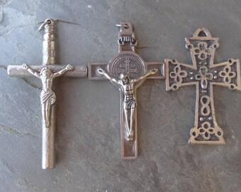 Religious, Cross, Medallions, Large Unique Cross Findings Vintage Jewelry Destash. France Cross. Large. Vintage  D12