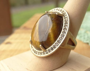Rhinestone and Tigers Eye Ring - Oval Statement Ring - Cocktail Ring - Tigers Eye - Boho Rhinestone - Size 8 Ring