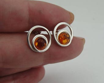 Marvelous top quality Authentic NEW Sterling Silver Honey Amber Stud Earrings, Amber Earrings, Free Shipping, Minimalist Earrings, Gift (sp