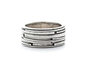 Unique Silver Band, Men's Wedding Band, Sterling Silver Ring, Statement Ring, One of a Kind Ring, Silver Wedding Band, Handmade Silver Ring